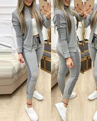 Spring Leisure Sports Zipper Tops Coat Pants 2 Two Pieces Sets For Women Striped Stitching Comfortable Activewear Sets