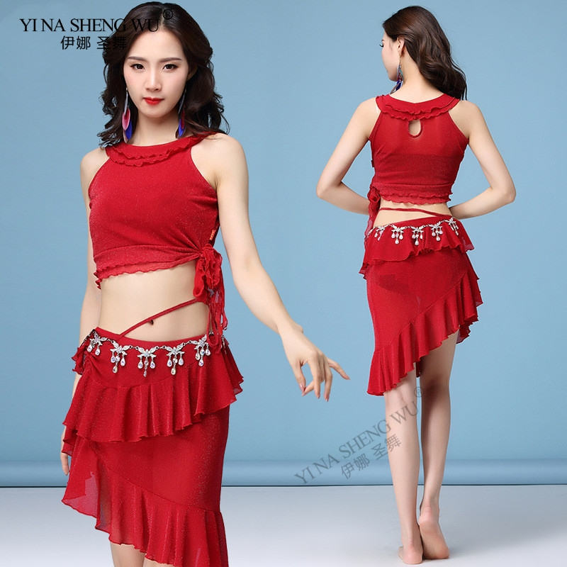 New Women's Sexy Mesh 5 Colour Clothing Short Sleeves+Skirt 2pcs Belly Dance Practice Suit For Women Belly Dance Set Top+Skirt