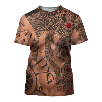 Tessffel NewFashion Viking Symbol Tattoo Viking Warriors Harajuku Unisex 3DPrint Summer Short Sleeve Streetwear T-shirts A5 1