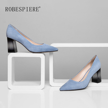ROBESPIERE New Womens Party Office Pumps Elegant Pointed Toe Shallow Ladies Shoes 7.5cm Strange Style Heel Slip-On A56