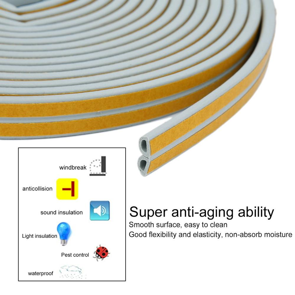 White Color 12m Adhesive Doors Windows Foam Sealing Strip Soundproofing Collision Avoidance Seal Wheatherstrip Noise Insulation