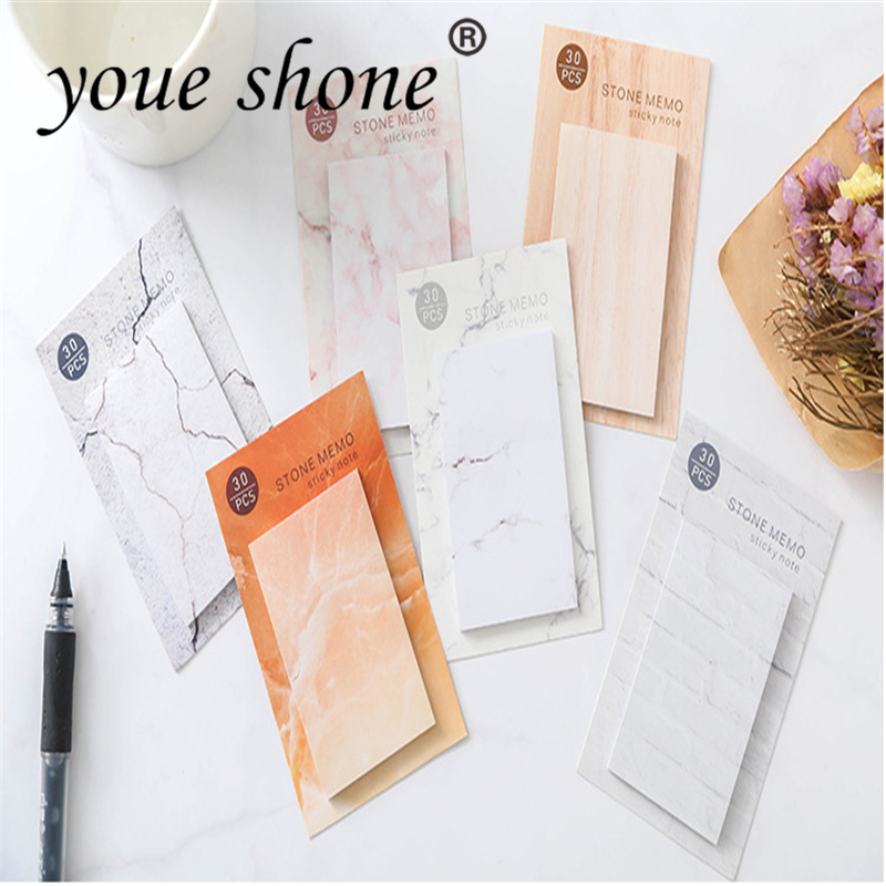 1PC=30shetts  Creative Marble Color Self Adhesive Memo Pad Stone Style Sticky Notes Bookmark School Office Stationery Supply