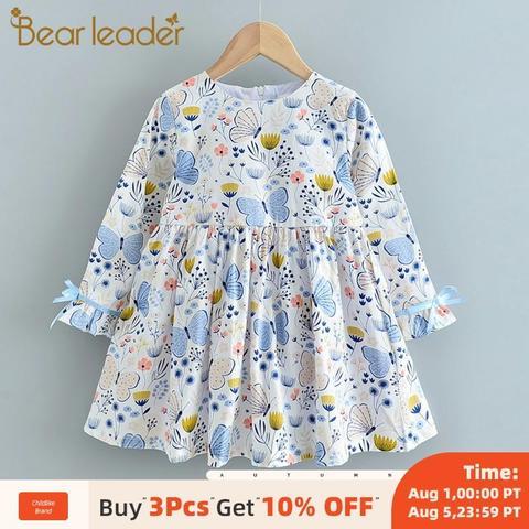 urso lider meninas vestido 2020 nova marca impressa criancas terno camisola vestidos com chapeu criancas