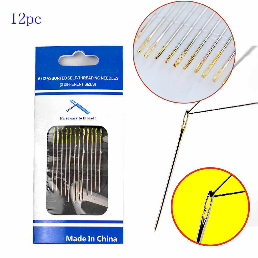 2020 12PCs 두꺼운 큰 눈 바느질 셀프 스레딩 바늘 DIY 자수 손 바느질 바늘 블라인드 이전 용품 DIY 도구