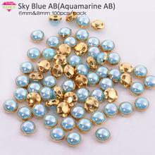 RESEN Top Grade Gold Sewing Pearl Bead  Sky Blue AB 6mm 8mm Mix Color Claw Rhinestones Sew On Pearls Button For Fabric Clothes