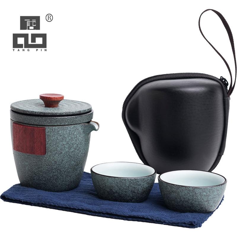TANGPIN Ceramic Teapot Gaiwan With 2 Cups A Tea Sets Portable Travel Tea Set Drinkware