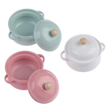 1Pcs 1 12 Dollhouse Miniature Accessories Mini Soup Pot with Food Simulation Kitchenware Model Toys