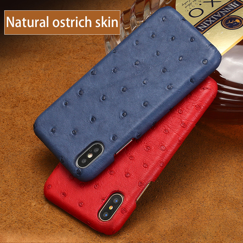 Luxury leather Phone Cases For iPhone 6 6s 7 8 Plus 11 Pro X Xs Max Case Real Ostrich skin Back Cover For 6sp 7p 8p case
