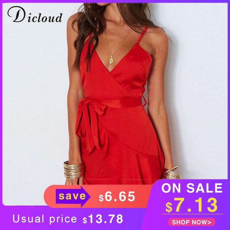 Dicloud красные атласные вечерние платья летние женщины с открытой спинки сексуальный v образным вырезом мини пляжный сарафан элегантное платье халат дамы