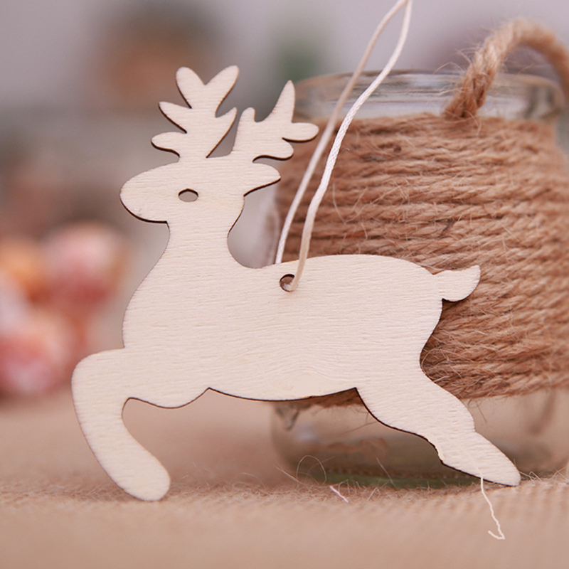10Pcs Christmas Wooden Pendant DIY Christmas Tree Decorations Various Pattern Pendant Home Decor New Year Christmas Ornaments in Pendant Drop Ornaments from Home Garden
