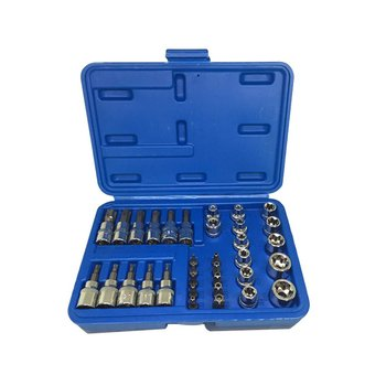 34Pcs/set E4-E20 E Type Bit Sockets Wrench Head T10-T60 TT10-TT55 Torx Star Sleeve Set Auto Repair Hand Tools