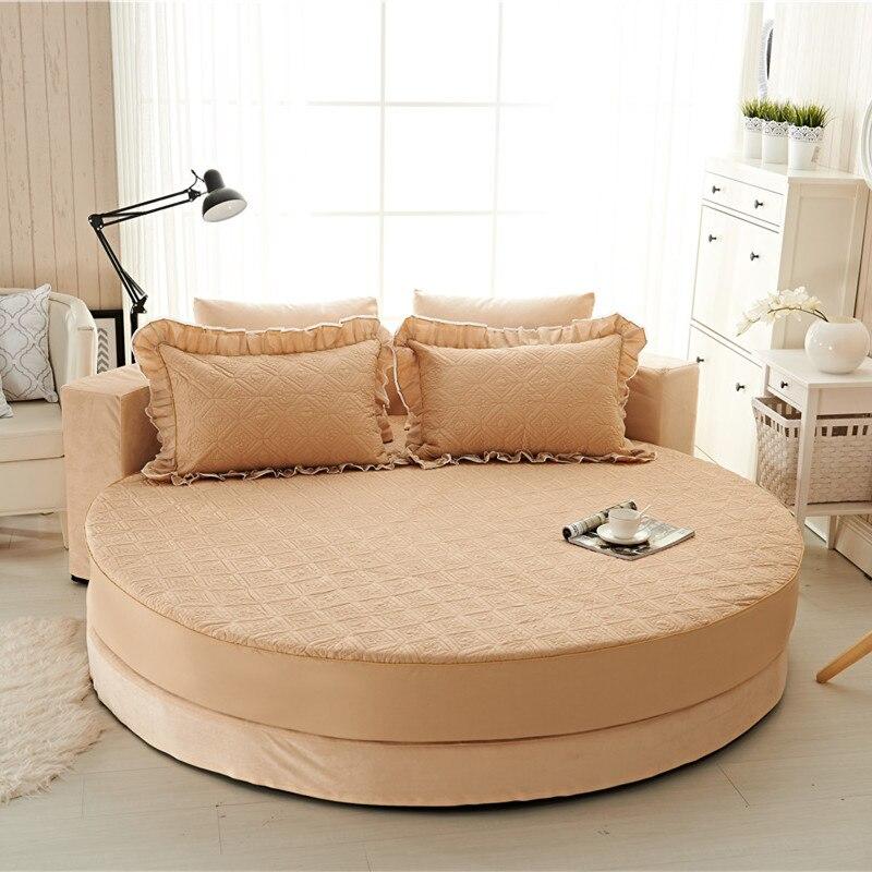 Princesa rodada folha 100% algodão acolchoado tampa de cama lençol 3 pçs/set círculo elástico rei, super king size engrossar algodão pad - 5