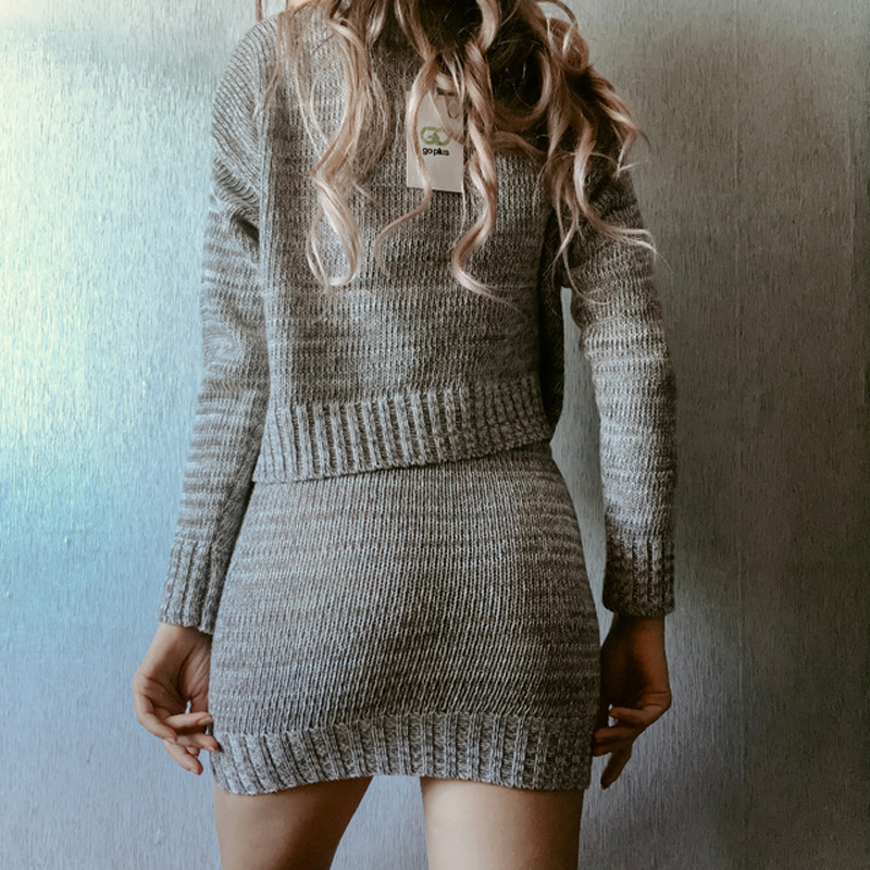 Image 2 - Women's Knitted Suit Set Two Piece Matching Skirt Set Outfits Clothing For Women Clothes 2019 Conjuntos De Mujer Ensemble Femme-in Women's Sets from Women's Clothing