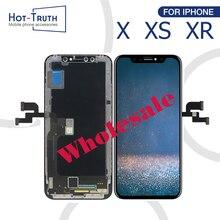 شاشة LCD 10 قطعة عالية الجودة لهاتف iPhone X XR XS شاشة OEM 1:1 تعمل باللمس مجمع محول رقمي بديل LCD