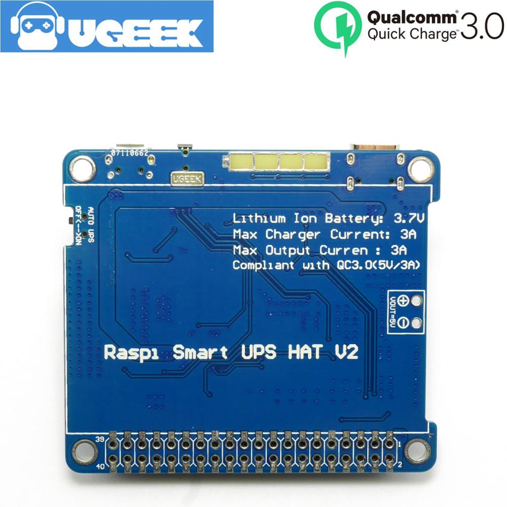 UGEEK UPS 2 HAT With Battery For Raspberry 4B/3B+/3B|support 3A Charger/Current Output|Compliant With Quick Charge QC3<5V/3A>