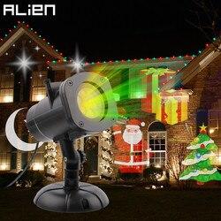 ALIENÍGENA 16 Slide Padrões RGB Luzes de Natal Projector Impermeável Ao Ar Livre Do Floco De Neve de Natal Holiday Party Show Indoor Iluminação