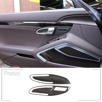 for Porsche 911 718 2012-2019 2 pcs/Set Real Carbon Fiber Left Drive Car Inner Door Handle Trim image