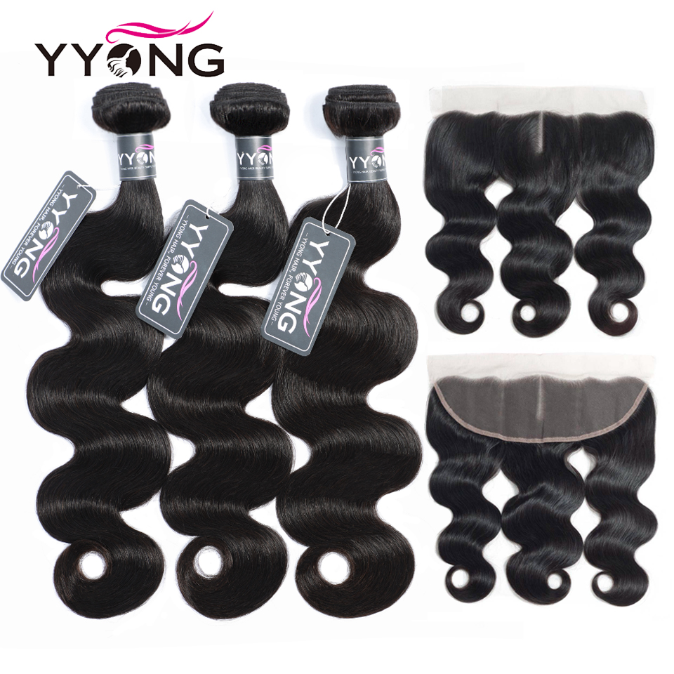 Yyong Hair 3 Bundles  Body Wave With Frontal  Bundles With 13X4 Ear To Ear Lace Frontal 1