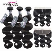 Tissages brésiliens en lot avec cheveux remy-Yyong, extensions capillaires en lot de 3, tissages Body Wave avec lace frontal de 13x4