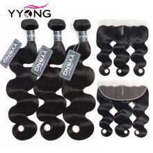 Yyong saç 3 paketler brezilyalı vücut dalga Frontal Remy insan saç demetleri ile 13X4 kulak dantel ön Frontal