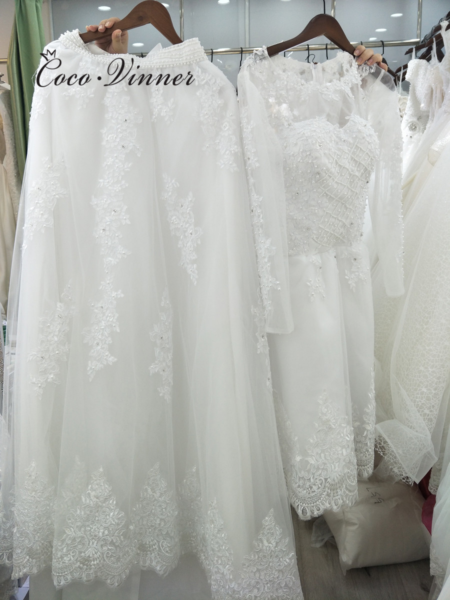 Image 3 - Beautiful Pearls beading 2 IN 1 A line Wedding Dress 2019 Detachable Skirt Long Sleeve Illusion Lace Wedding Dresses W0278 B-in Wedding Dresses from Weddings & Events