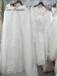 Image 3 - Belas pérolas beading 2 em 1 uma linha vestido de casamento 2020 saia destacável manga longa ilusão rendas vestidos de casamento W0278 B