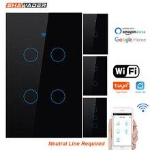Wifiスマートライトスイッチガラスタッチパネル音声リモコンワイヤレス壁ランプ2ウェイパラレルスイッチalexaためのgoogleホーム