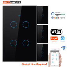 Wifi Smart Light Switch Glass Touch Panel Voice Remote Control Wireless Wall Lamp 2 way Parallel Switches for Alexa Google Home