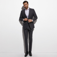2020 Warm Charcoal Grey Subtle Stripe Brushed Wool Blend Suits For Winter Custom Made Slim Fit Warm Suits For Winter,Heavy Wool