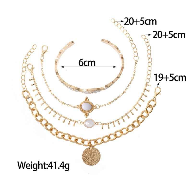 4 Stks/set Vrouwen Armbanden Gouden Ovale Zon Patroon Wit Kraal Kwast Disc Open Armband Set Klassieke Verjaardagsfeestje Sieraden Gift