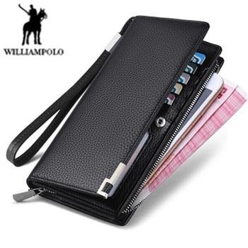 Williampolo long Genuine leather wallet men's fashion business clutch Designer metal corner mobile phone bag 19 card men wallet