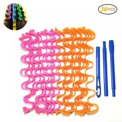 12-24 pçs diy senhora magia longo cabelo cachos espiral cachos onda onda alavancagem curlers formadores ondulação rolos de rolos de cabelo