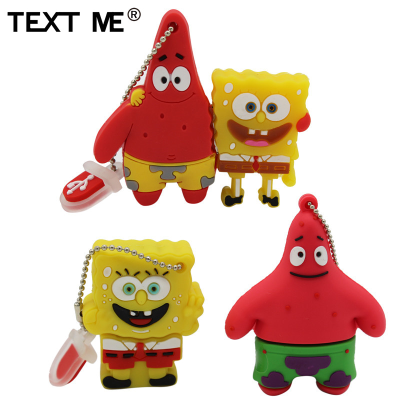 TEXT ME Cool Cute SpongeBob Usb Flash Drive Usb 2.0 4GB 8GB 16GB 32GB  Pendrive 64GB Usb Stick