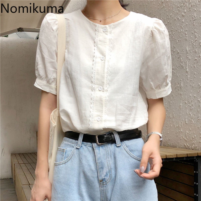 Nomikuma Cotton Linen Puff Sleeve Shirts Women Solid Color Single Breasted Vintage Fashion Blouse Korean Style Tops Blusas 3a742