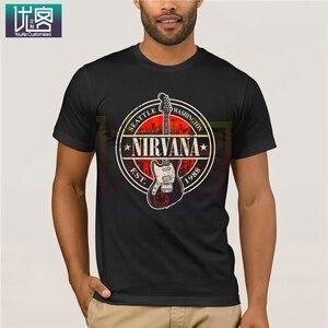 Nirvana, Сиэтл, США, 1988, основанная Марка с гитарой, футболка, Ретро стиль, круглый вырез, повседневные футболки, 100% хлопок, одежда, футболка