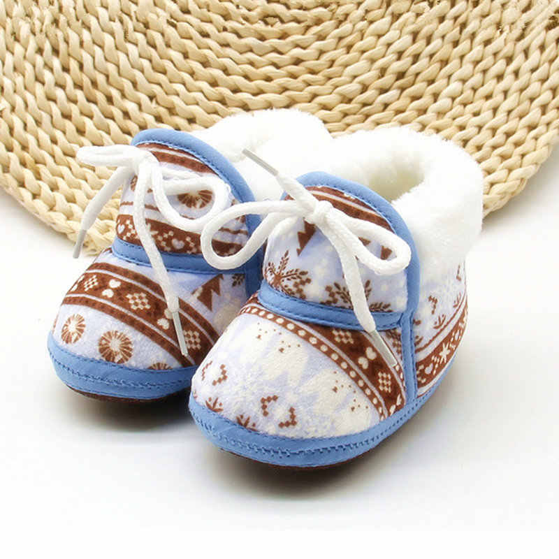 New Infant Baby Shoes Newborn Baby First Walker Shoes Soft Comfortable Bottom Baby Winter Booties Warm Lace-up Print Shoes