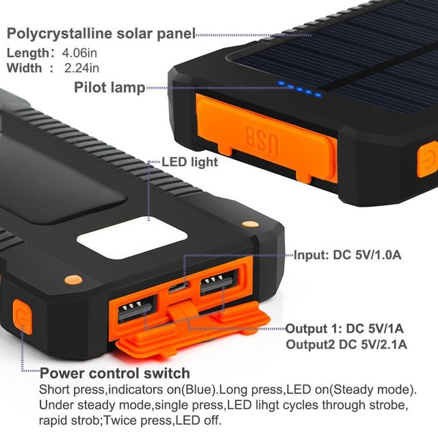 Solar Power Bank Waterproof 30000mAh Solar Charger USB Ports External Charger Powerbank for Xiaomi 5S Smartphone with LED Light 3