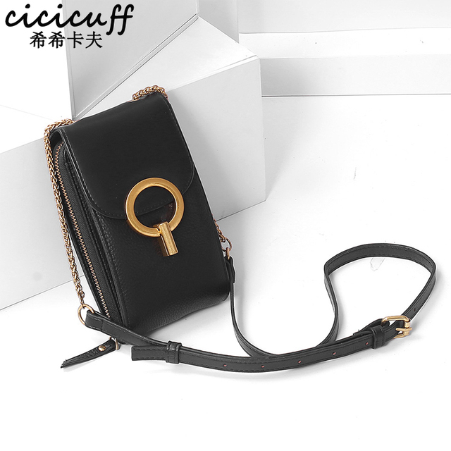 Women Genuine Leather Phone Pouch Bags for iPhone X XS 6 7 8 Small Shoulder Bag for Samsung S9  Crossbody Bags Women Phone Bag