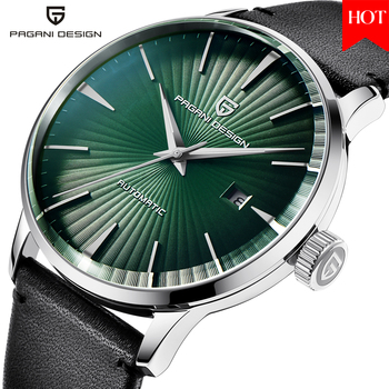 2020 PAGANI DESIGN Casual Fashion Leather Steel Men Watch  Top Brand Luxury Waterproof Automatic Mechanical Watches Green Dial