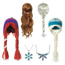 MUABABY/Новые вечерние аксессуары для маленьких девочек с изображением Эльзы и Анны; вязаная шапка Снежной Королевы; парик Эльзы; повязка на голову принцессы; ожерелье; подарок на день рождения