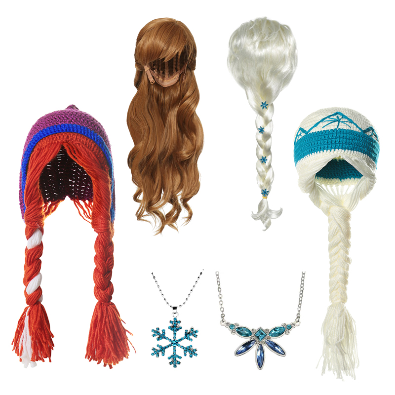 MUABABY Baby Girl New Elsa Anna Party Accessories Snowflake Crochet Hat Elza Wig Braid Princess Headband Necklace Birthday Gift