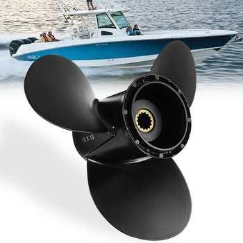 Marine Outboard Propeller 10 x 13 For Evinrude Johnson 15-35HP 778863 / 175191 Aluminum Alloy Black 14 Spline Tooth Propeller