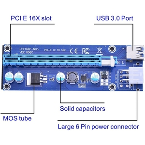 Image 2 - 6 Pack 6 Pin PCIe PCI E Express 1X to 16X Riser Card with 6 Pin PCI E to 15 Pin SATA Power Cable and 60cm USB 3.0 Cable