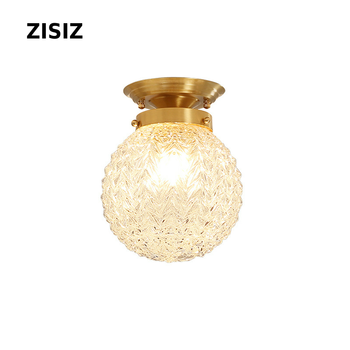 Lamparas de techo American Country Copper LED Ceiling Lamps Home Simple Study Bedroom Lamp Living Room Ceiling Light Fixtures