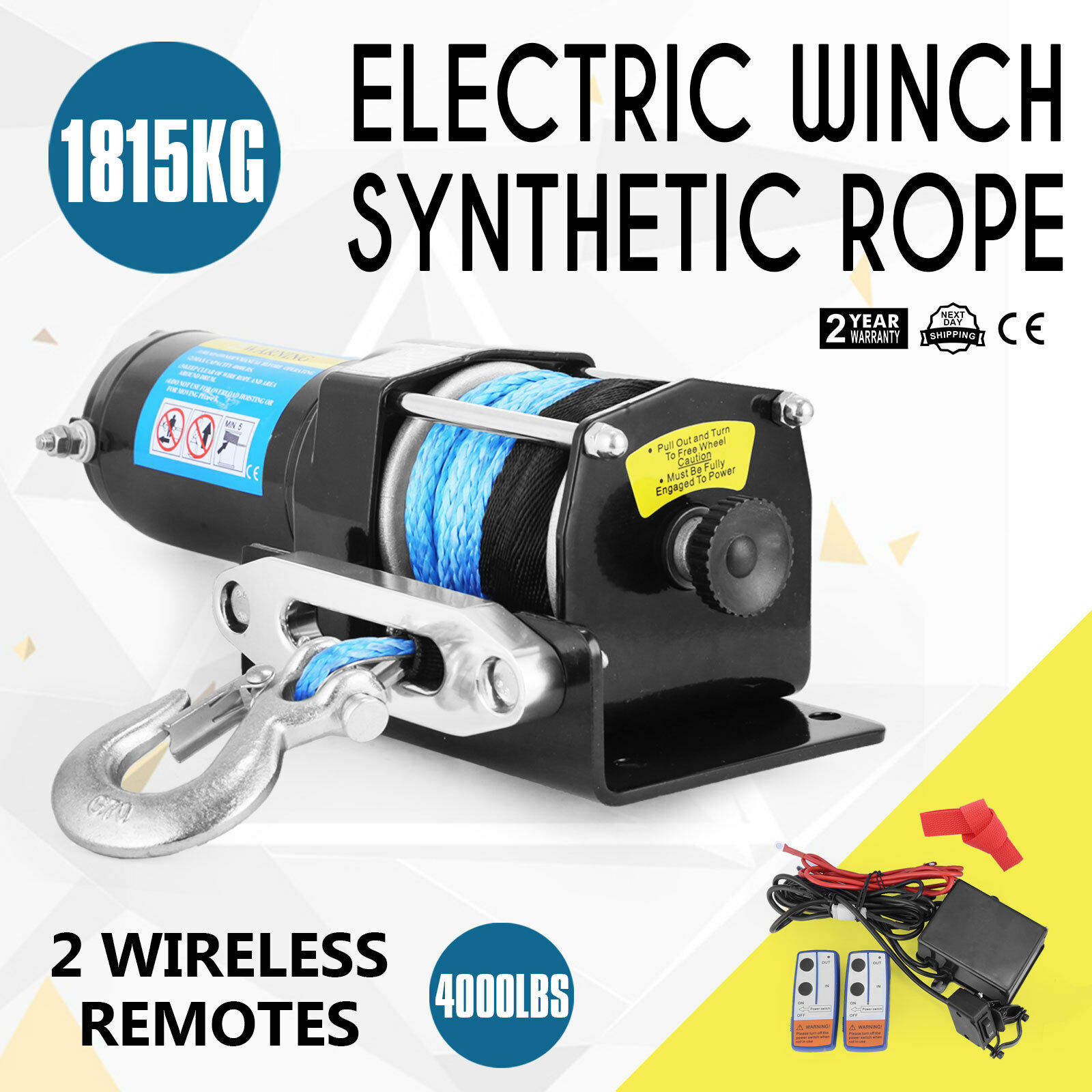 4000lbs/1815kg Electric Winch Synthetic Rope ATV 4WD Boat 12v Wirless Remotes