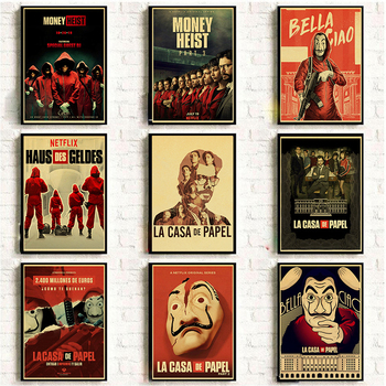 La Casa De Papel Money Heist Posters Retro Art Movie Posters Canvas Painting Wall Art Pictures Stickers For Living Room image