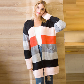 Long Knitted Sweater Women Coat 2019 Striped Cardigan Sweater Women For Autumn Womens Cardigan Long Sleeve Ladies Sweaters
