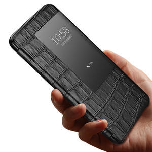 Image 5 - Luxury smart touch flip case for Huawei mate20 p30 p20 mate10 Pro lite view window leather crocodile skin protection Phone cover