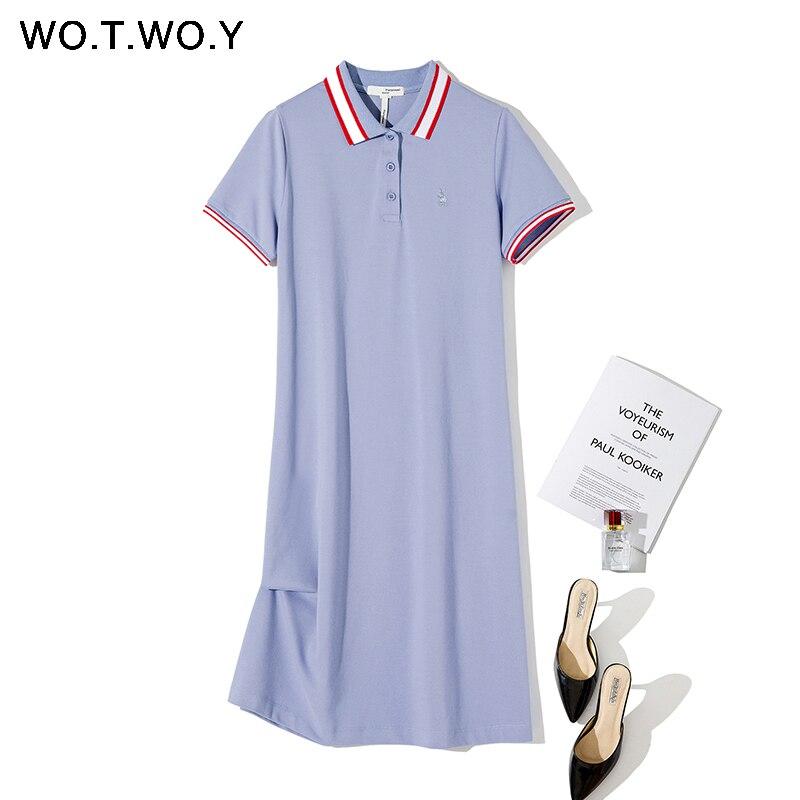 WOTWOY Summer Cotton Knitted Dress Women 2020 Embroidery Ribs Button Women Dresses Casual Mid-Calf Turn Down Collar Women Dress