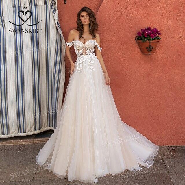 Người yêu 3D Hoa Áo Cưới 2020 VAI VOAN Chữ A Công Chúa Áo Dài Cô Dâu Swanskirt UZ40 Ảo Giác Đầm Vestido de Noiva